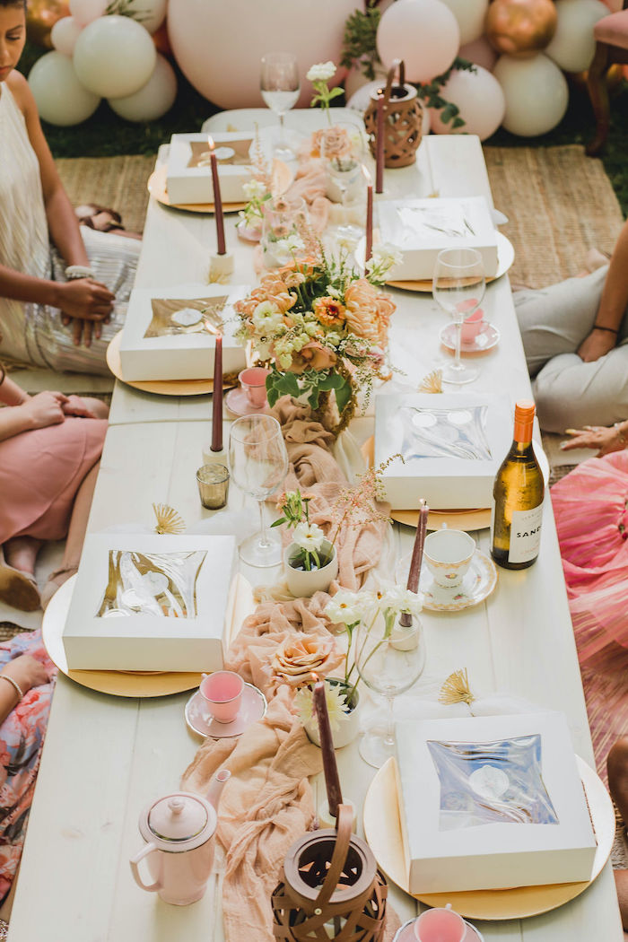 Glam Picnic Guest Table from a Glam Bridal Shower Picnic on Kara's Party Ideas | KarasPartyIdeas.com (20)