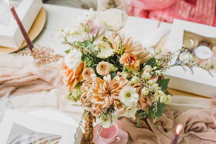 Orange Floral Centerpiece from a Glam Bridal Shower Picnic on Kara's Party Ideas | KarasPartyIdeas.com (18)