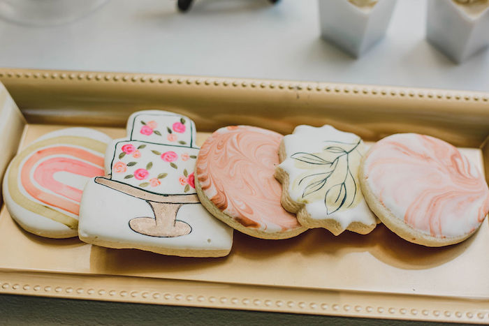 Floral-inspired Bridal Shower Cookies from a Glam Bridal Shower Picnic on Kara's Party Ideas | KarasPartyIdeas.com (36)