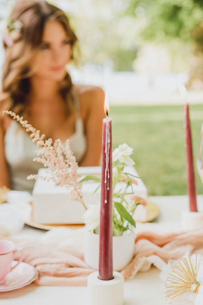 Flute Candle from a Glam Bridal Shower Picnic on Kara's Party Ideas | KarasPartyIdeas.com (17)