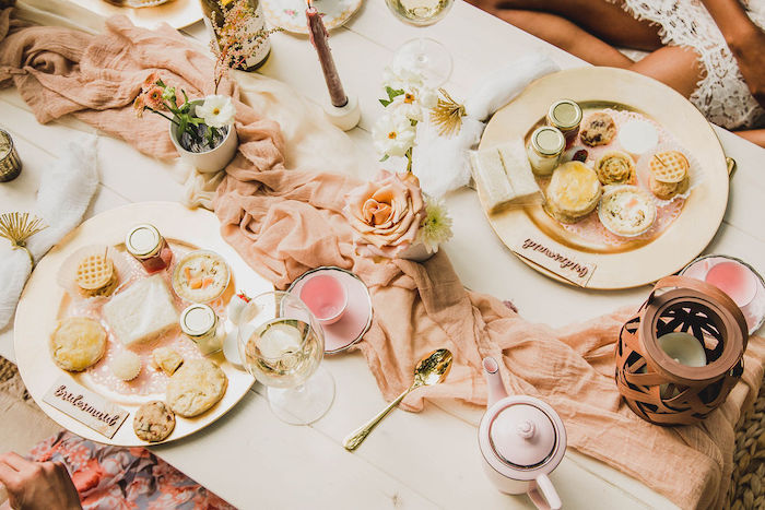 Picnic Guest Table + Table Settings from a Glam Bridal Shower Picnic on Kara's Party Ideas | KarasPartyIdeas.com (14)