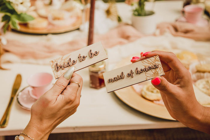 Scripted Wood Place Cards from a Glam Bridal Shower Picnic on Kara's Party Ideas | KarasPartyIdeas.com (13)