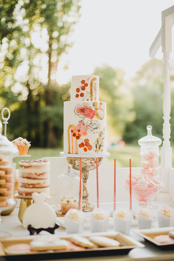 Floral Cake + Cake Table from a Glam Bridal Shower Picnic on Kara's Party Ideas | KarasPartyIdeas.com (5)
