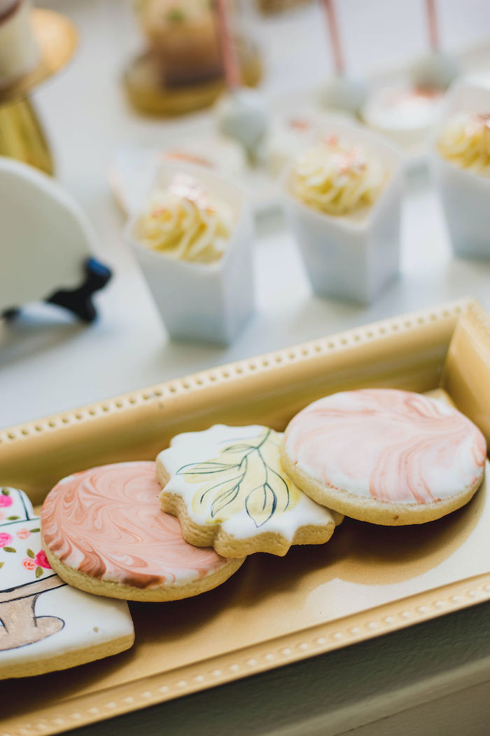 Floral-inspired Cookies from a Glam Bridal Shower Picnic on Kara's Party Ideas | KarasPartyIdeas.com (32)