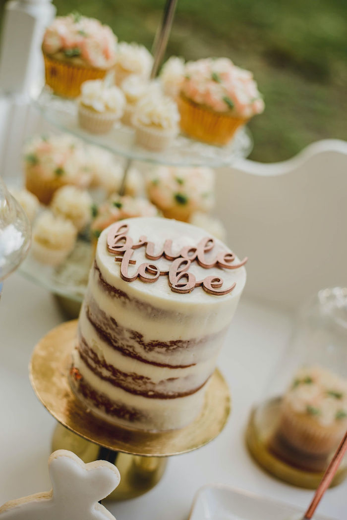 Semi-naked Mini Cake from a Glam Bridal Shower Picnic on Kara's Party Ideas | KarasPartyIdeas.com (31)