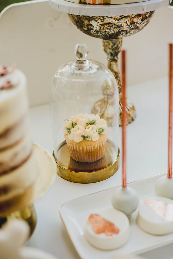 Floral-iced Cupcake in a Cloche from a Glam Bridal Shower Picnic on Kara's Party Ideas | KarasPartyIdeas.com (30)