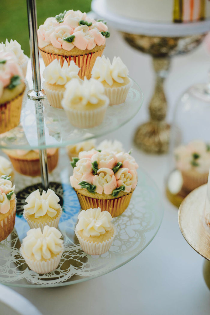 Floral-iced Cupcakes from a Glam Bridal Shower Picnic on Kara's Party Ideas | KarasPartyIdeas.com (29)