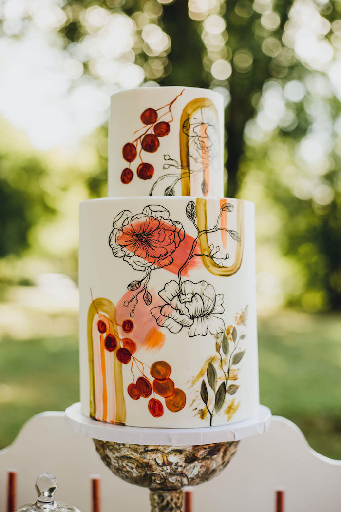Painted Floral Cake from a Glam Bridal Shower Picnic on Kara's Party Ideas | KarasPartyIdeas.com (28)