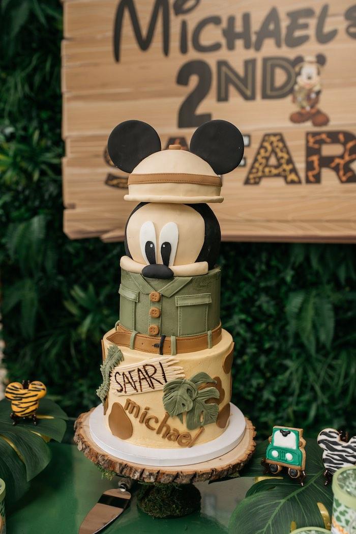 Mickey Mouse Safari Cake from a Mickey Mouse Safari Party on Kara's Party Ideas | KarasPartyIdeas.com (15)