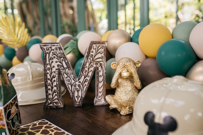 Jungle-inspired Block Letter + Gold Animal Figurine from a Mickey Mouse Safari Party on Kara's Party Ideas | KarasPartyIdeas.com (9)