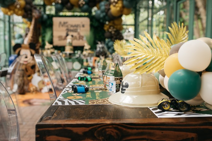 Mickey Mouse-inspired Safari Guest Table from a Mickey Mouse Safari Party on Kara's Party Ideas | KarasPartyIdeas.com (19)
