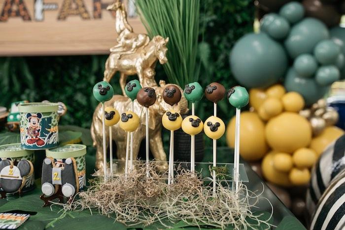 Mickey Mouse Safari Cake Pops from a Mickey Mouse Safari Party on Kara's Party Ideas | KarasPartyIdeas.com (16)