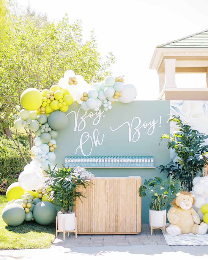 Boy Oh Boy Balloon Panel Wall from a Modern Safari Drive-By Baby Shower on Kara's Party Ideas | KarasPartyIdeas.com (16)