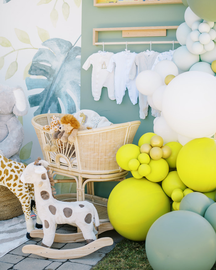 Bassinet of Animals from a Modern Safari Drive-By Baby Shower on Kara's Party Ideas | KarasPartyIdeas.com (14)