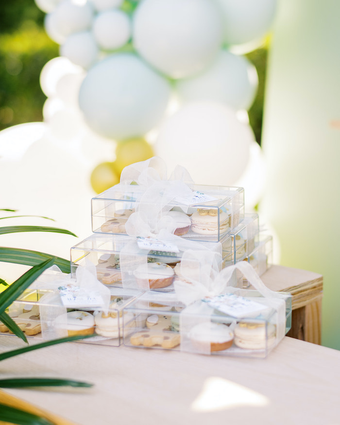 Acrylic Dessert Favor Boxes from a Modern Safari Drive-By Baby Shower on Kara's Party Ideas | KarasPartyIdeas.com (13)