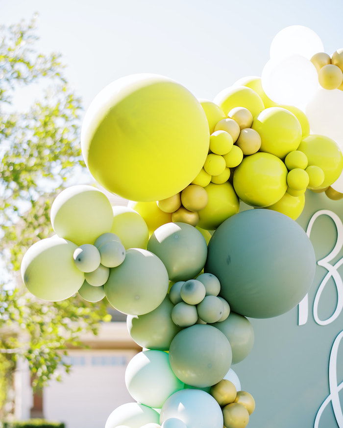 Green Balloon Install from a Modern Safari Drive-By Baby Shower on Kara's Party Ideas | KarasPartyIdeas.com (11)