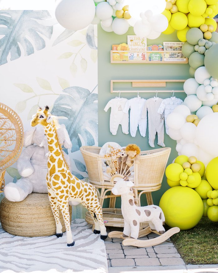 Baby Wall from a Modern Safari Drive-By Baby Shower on Kara's Party Ideas | KarasPartyIdeas.com (5)