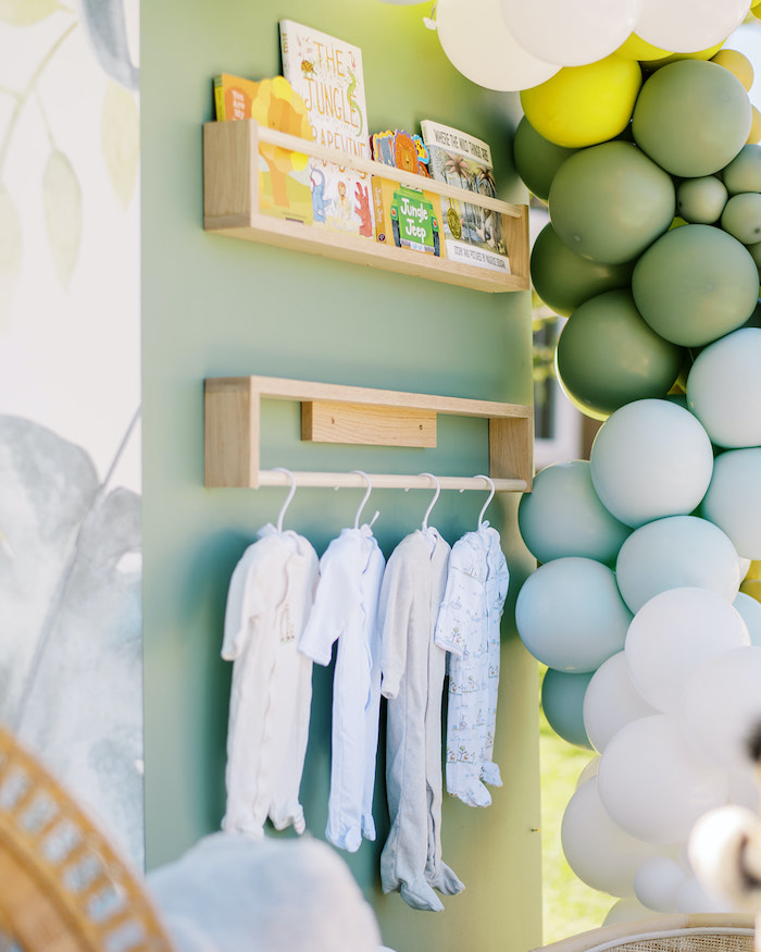 Book + Outfit Wall from a Modern Safari Drive-By Baby Shower on Kara's Party Ideas | KarasPartyIdeas.com (3)