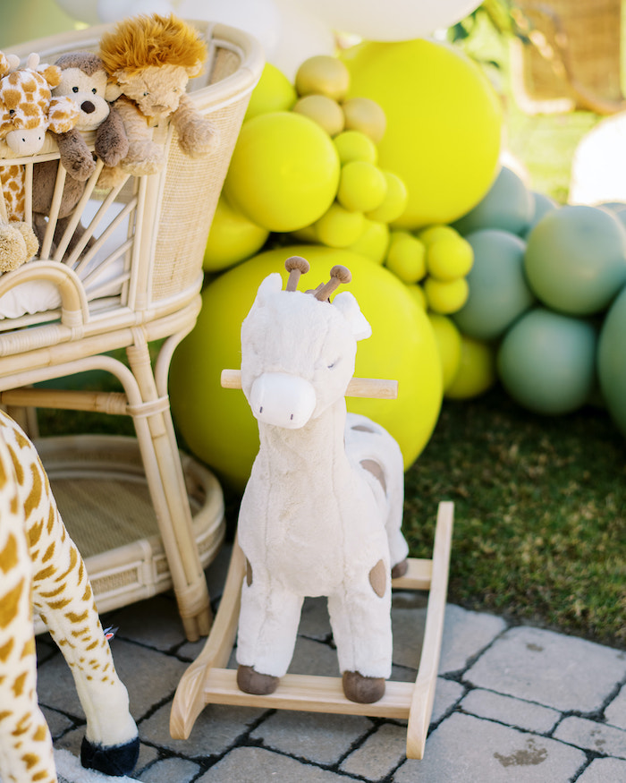 Rocking Giraffe from a Modern Safari Drive-By Baby Shower on Kara's Party Ideas | KarasPartyIdeas.com (23)