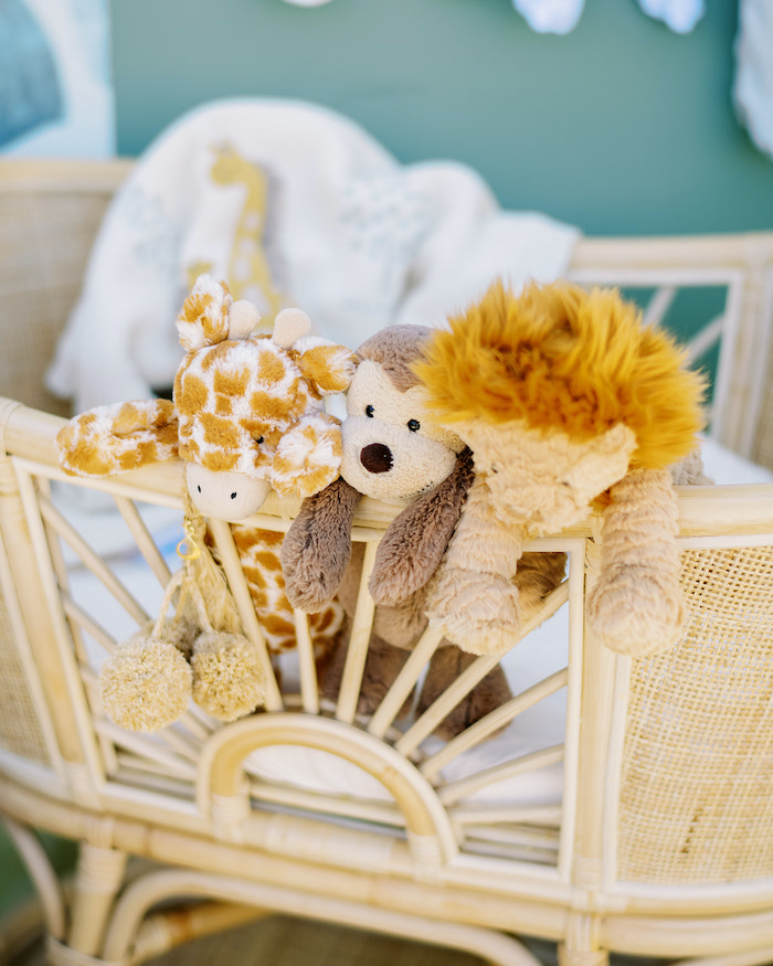 Bassinet of Animals from a Modern Safari Drive-By Baby Shower on Kara's Party Ideas | KarasPartyIdeas.com (21)