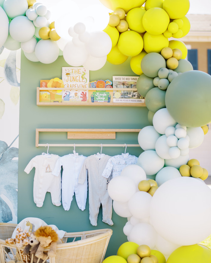 Book + Baby Outfit Wall from a Modern Safari Drive-By Baby Shower on Kara's Party Ideas | KarasPartyIdeas.com (20)