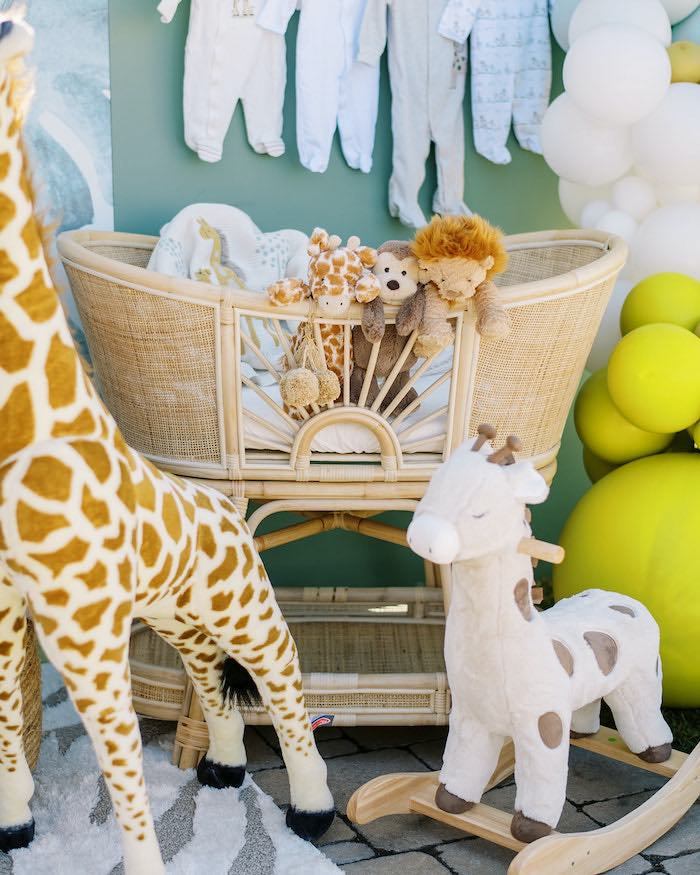 Bassinet of Animals from a Modern Safari Drive-By Baby Shower on Kara's Party Ideas | KarasPartyIdeas.com (19)