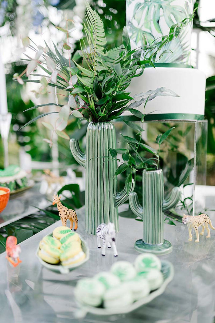 Tropical Blooms in Cactus Vases from a Modern Tropical Baptism Party on Kara's Party Ideas   KarasPartyIdeas.com (29)