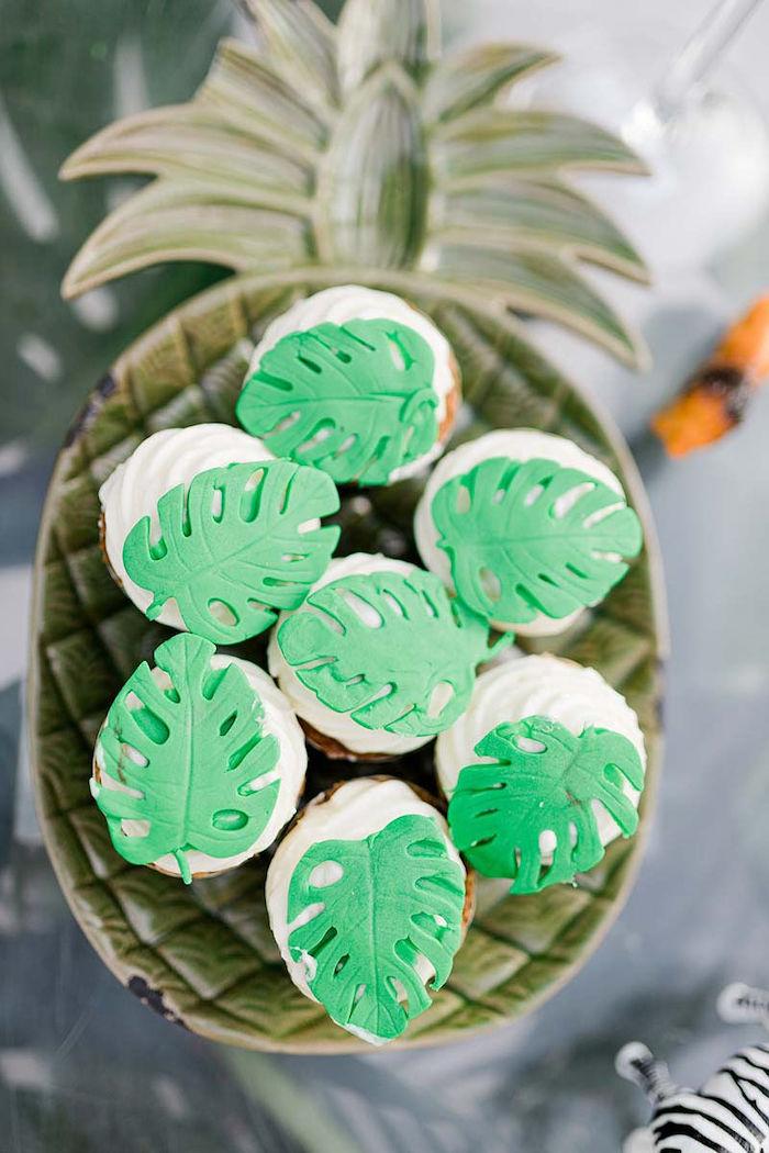 Tropical Leaf Cupcakes from a Modern Tropical Baptism Party on Kara's Party Ideas   KarasPartyIdeas.com (27)