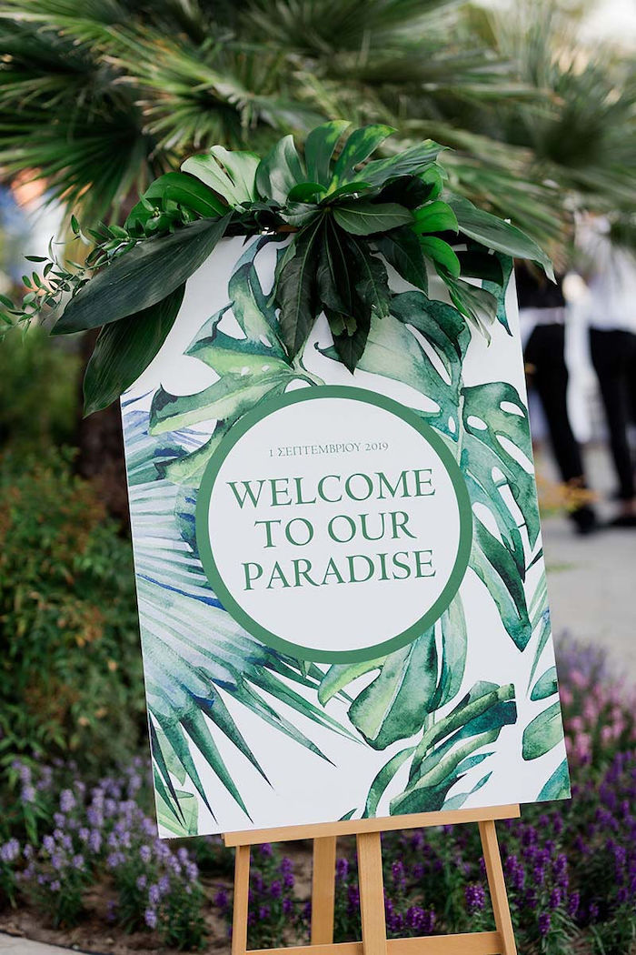 Tropical Leaf Welcome Sign from a Modern Tropical Baptism Party on Kara's Party Ideas   KarasPartyIdeas.com (24)
