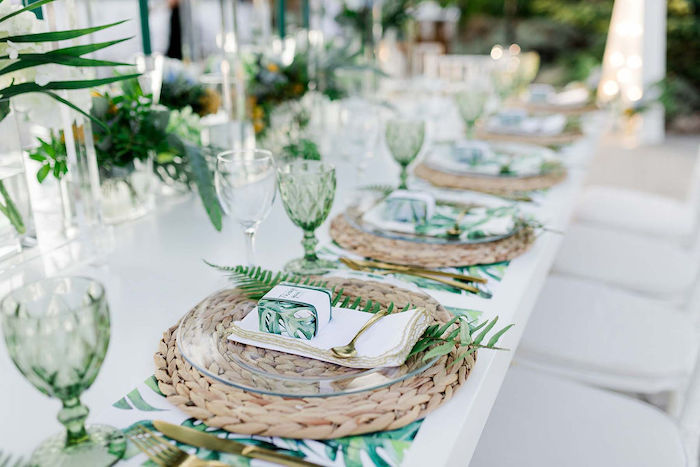 Tropical Guest Table Settings + Tablescape from a Modern Tropical Baptism Party on Kara's Party Ideas   KarasPartyIdeas.com (20)