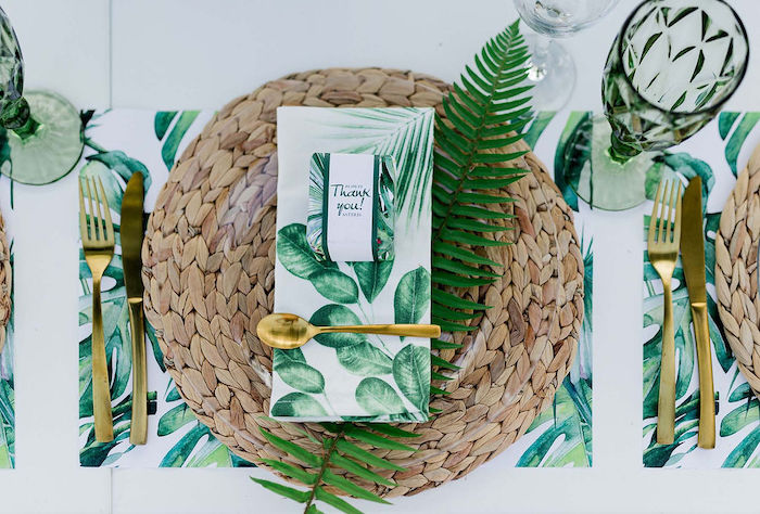 Elegant Tropical Table Setting from a Modern Tropical Baptism Party on Kara's Party Ideas   KarasPartyIdeas.com (18)