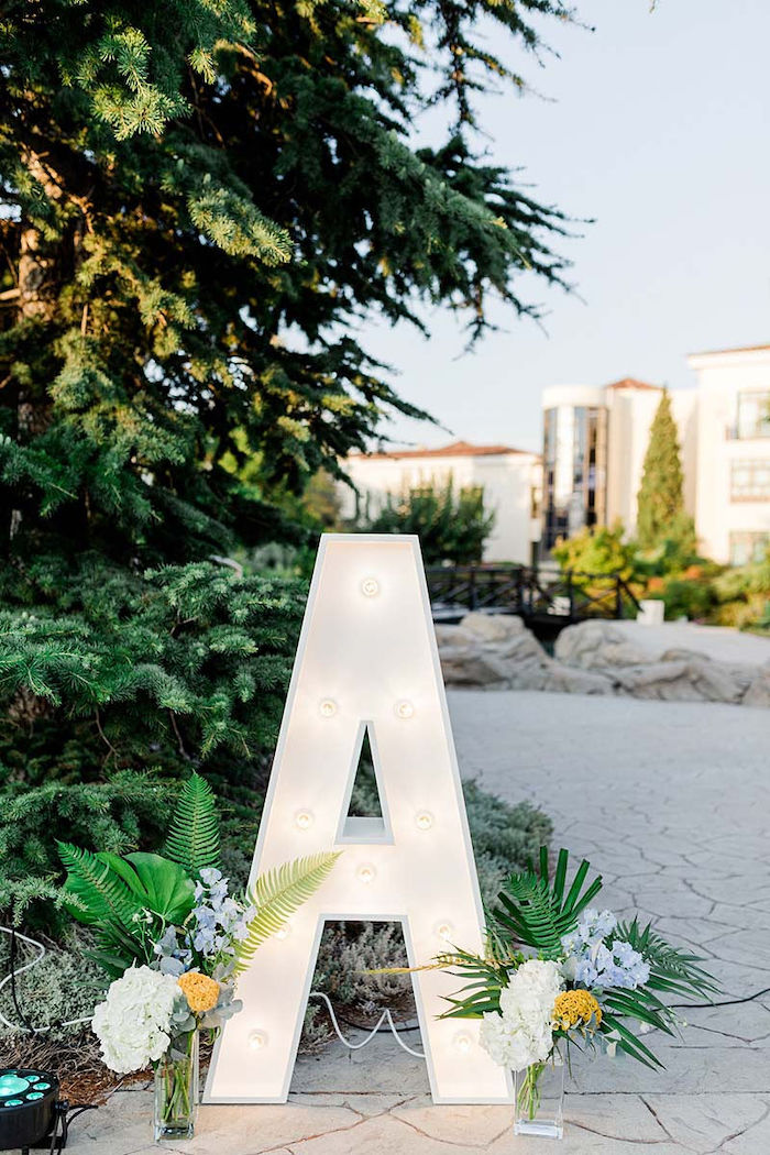 Tropical Letter Marquee from a Modern Tropical Baptism Party on Kara's Party Ideas   KarasPartyIdeas.com (13)