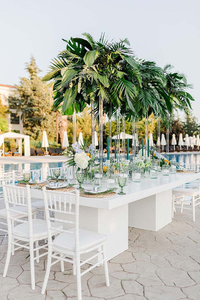 Tropical Guest Table from a Modern Tropical Baptism Party on Kara's Party Ideas   KarasPartyIdeas.com (12)