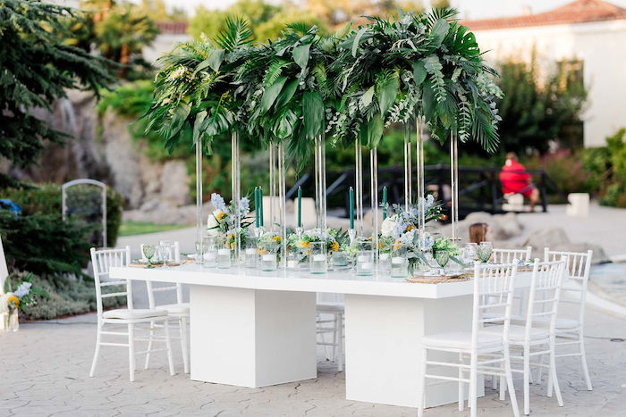 Tropical Guest Table from a Modern Tropical Baptism Party on Kara's Party Ideas   KarasPartyIdeas.com (6)