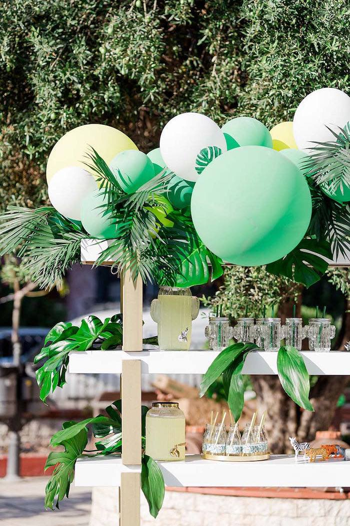 Tropical Beverage Bar from a Modern Tropical Baptism Party on Kara's Party Ideas   KarasPartyIdeas.com (37)