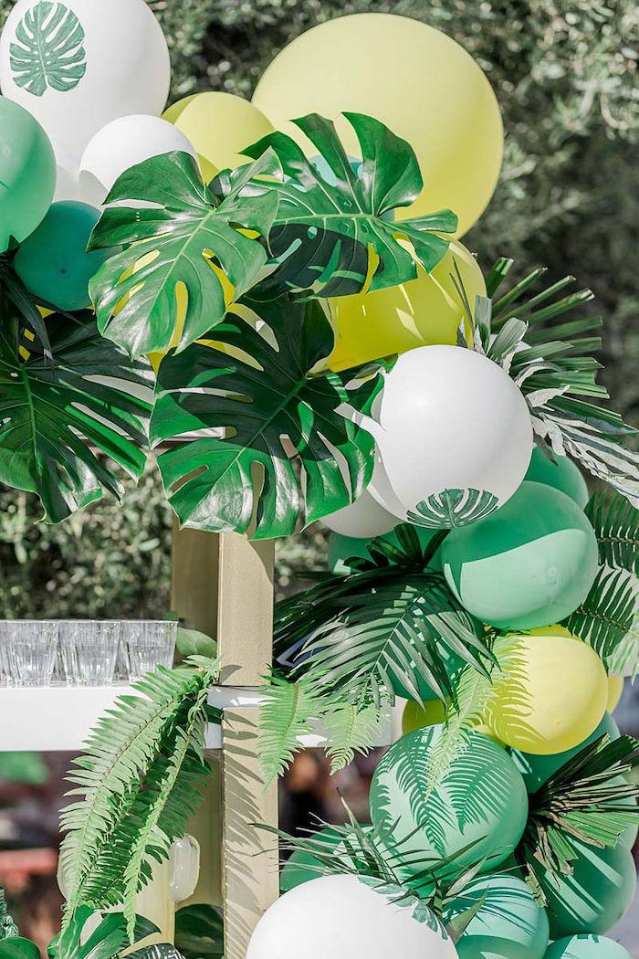 Tropical Balloon Garland + Arch from a Modern Tropical Baptism Party on Kara's Party Ideas   KarasPartyIdeas.com (36)