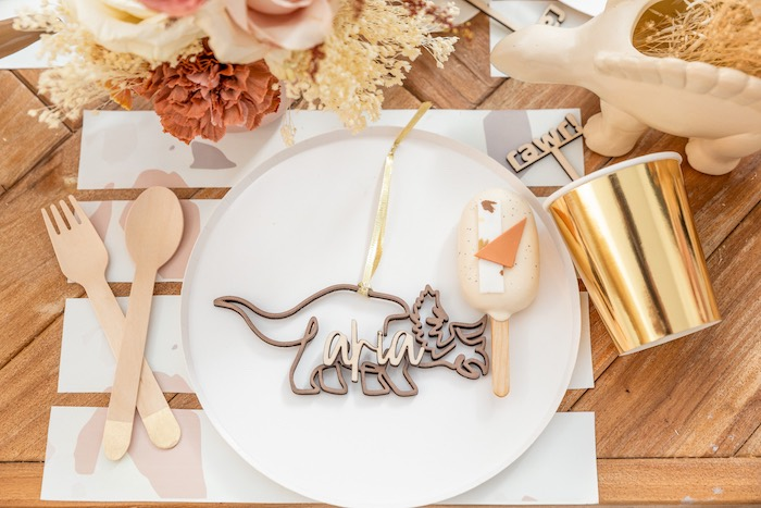 Personalized Dinosaur Table Setting from a Muted Boho Girly Dinosaur Party on Kara's Party Ideas | KarasPartyIdeas.com (24)