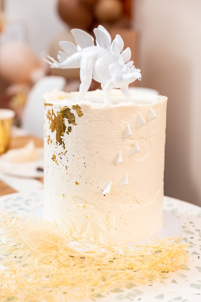 Modern Glam Dinosaur Cake from a Muted Boho Girly Dinosaur Party on Kara's Party Ideas | KarasPartyIdeas.com (21)
