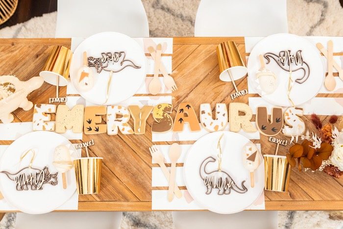 Dinosaur-inspired Block Letter Name Cookies + Guest Table from a Muted Boho Girly Dinosaur Party on Kara's Party Ideas | KarasPartyIdeas.com (18)