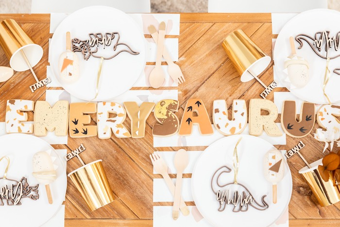 Dinosaur-inspired Block Letter Name Cookies + Guest Table from a Muted Boho Girly Dinosaur Party on Kara's Party Ideas | KarasPartyIdeas.com (15)