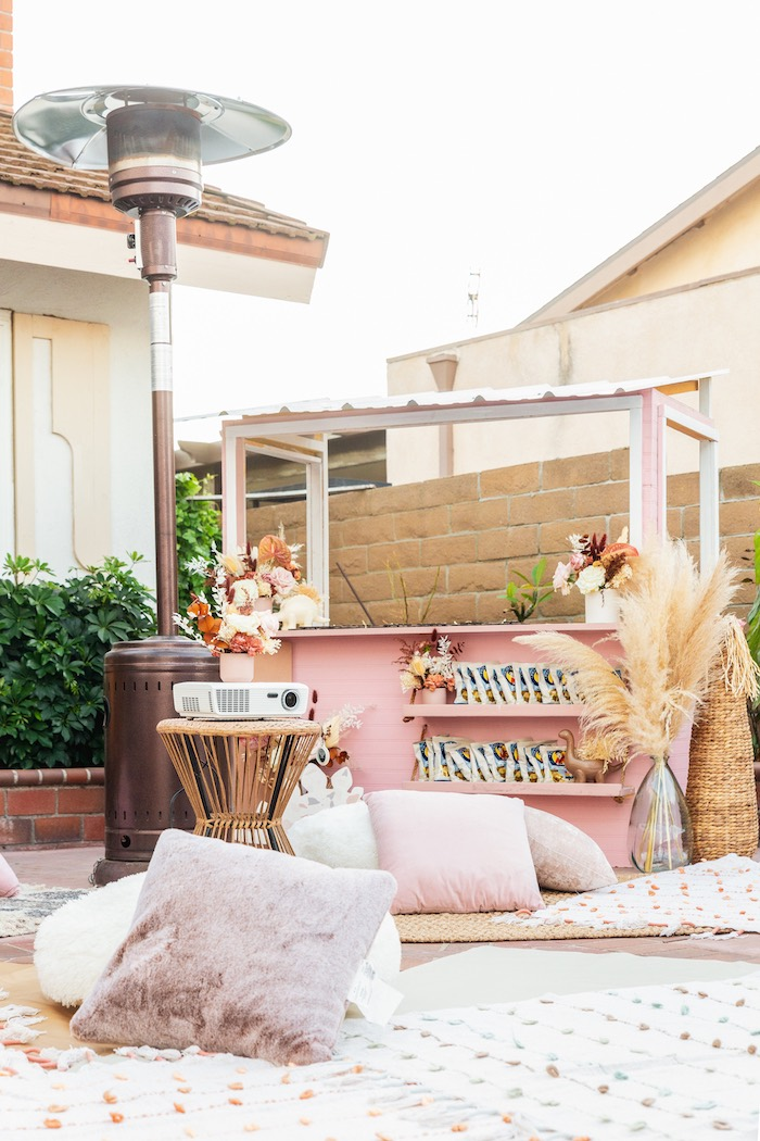 Outdoor Picnic Lounge from a Muted Boho Girly Dinosaur Party on Kara's Party Ideas | KarasPartyIdeas.com (7)