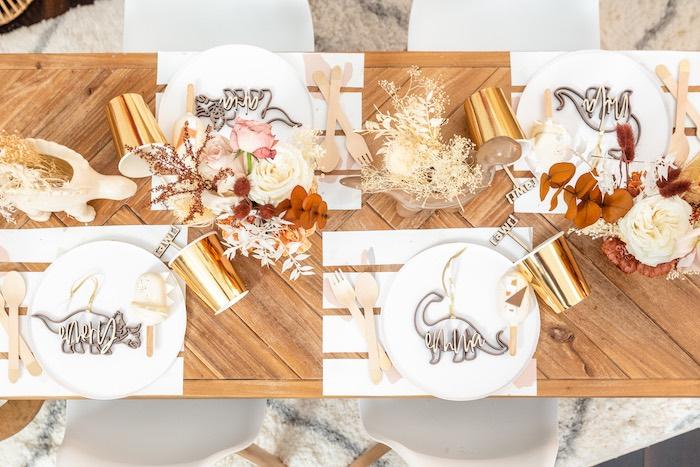Dinosaur Themed Guest Tabletop + Table Settings from a Muted Boho Girly Dinosaur Party on Kara's Party Ideas | KarasPartyIdeas.com (26)