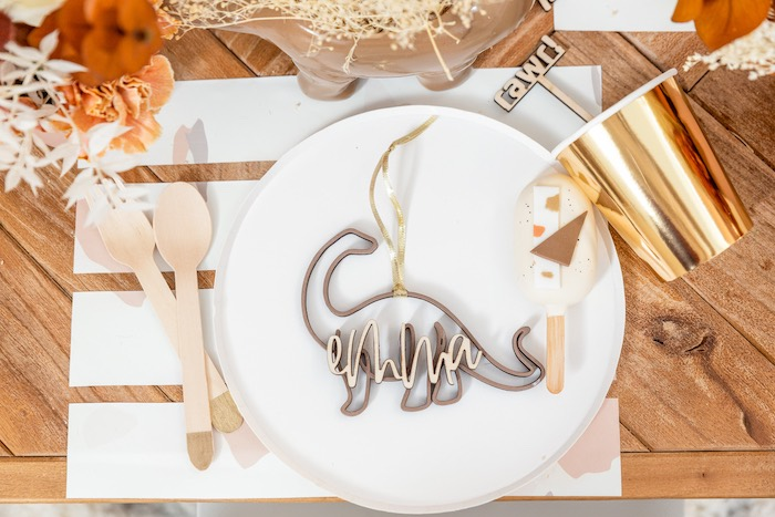 Personalized Dinosaur Table Setting from a Muted Boho Girly Dinosaur Party on Kara's Party Ideas | KarasPartyIdeas.com (25)