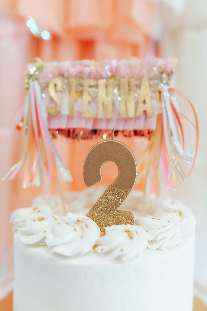 """Gold Glitter """"2"""" Candle from a Neutral Fringe DIY Minnie Mouse Party on Kara's Party Ideas   KarasPartyIdeas.com (24)"""
