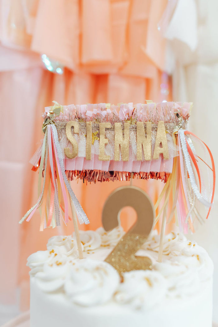 Custom Name Fringe Cake Topper from a Neutral Fringe DIY Minnie Mouse Party on Kara's Party Ideas   KarasPartyIdeas.com (23)