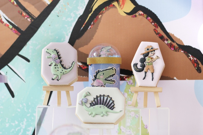 Custom Paleontologist + Dinosaur Cookies from a Pastel Dinos & Paleontologists Party on Kara's Party Ideas | KarasPartyIdeas.com (18)
