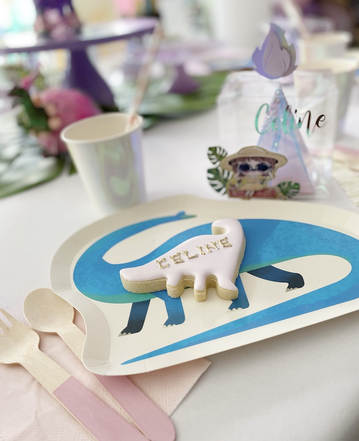 Dinosaur Cookie Place Setting from a Pastel Dinos & Paleontologists Party on Kara's Party Ideas | KarasPartyIdeas.com (11)
