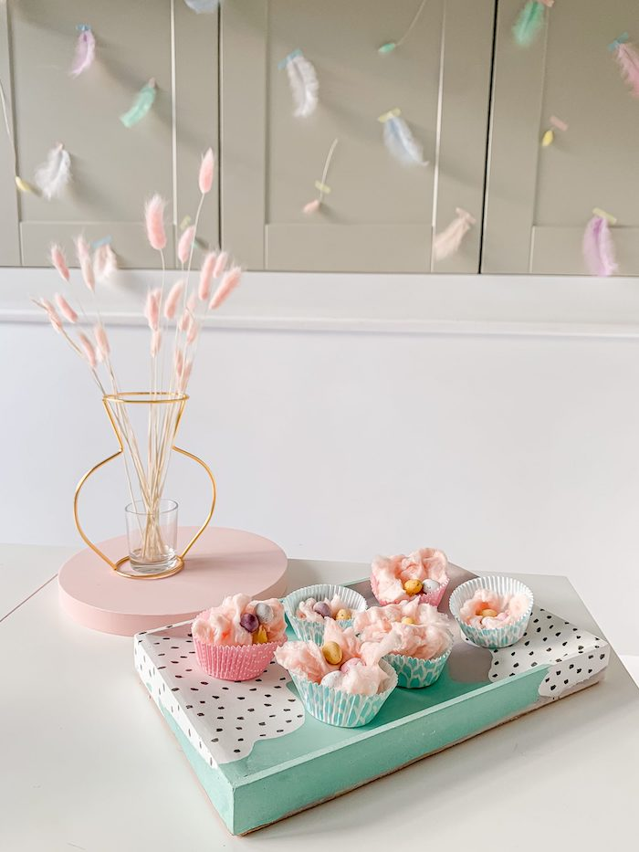 Cotton Candy + Easter Egg Cups in Cupcake Liners from a Pastel Easter Tablescape on Kara's Party Ideas | KarasPartyIdeas.com (6)