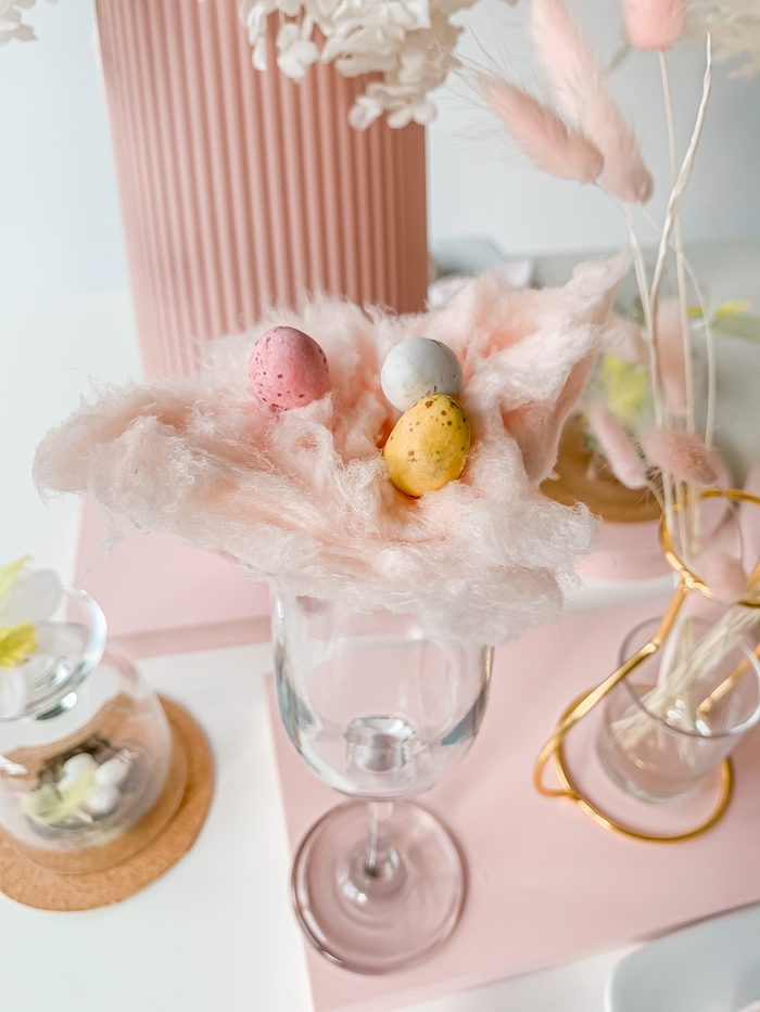 Cotton Candy + Candy Egg Nest Cup Topper from a Pastel Easter Tablescape on Kara's Party Ideas | KarasPartyIdeas.com (11)