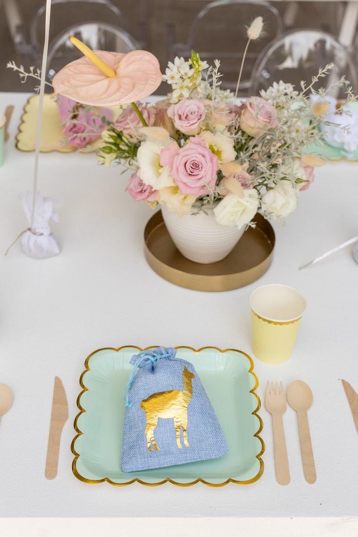 Pastel Llama-inspired Table Setting from a Pastel Llama Party on Kara's Party Ideas | KarasPartyIdeas.com (14)